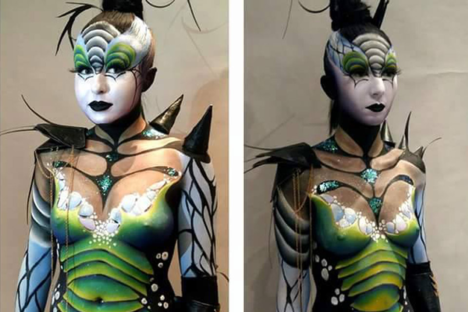 Maquillage body painting insecte
