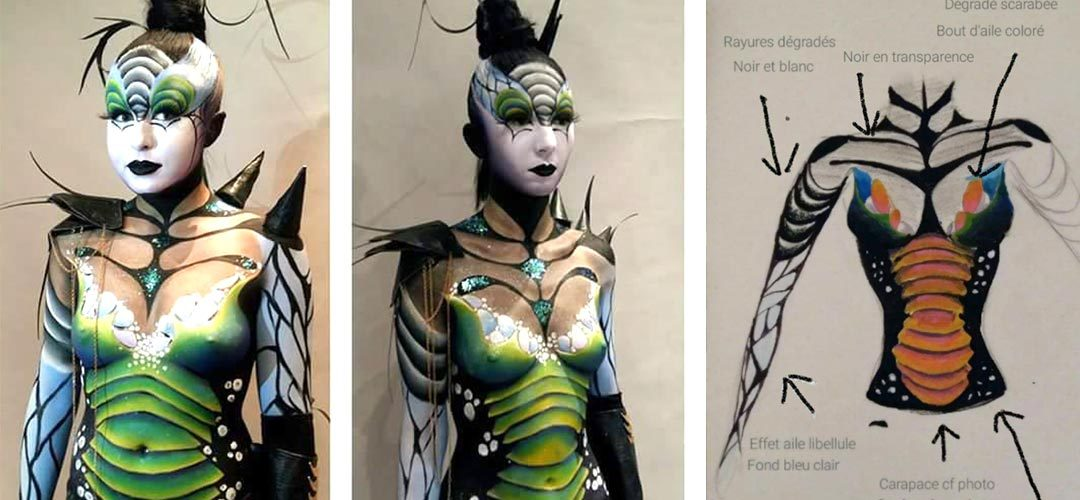 Maquillage demi body painting Lyon