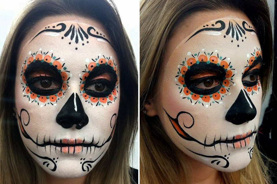Maquillage tete de morte mexicaine Lyon
